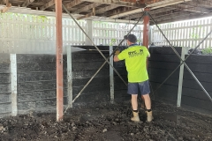 Rycan Retaining and Earthworks Concrete Sleeper Retaining Wall under house